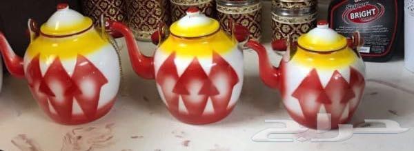 اباريق غضار.احمر.اخضر.ازرق.الطقم4حبات140
