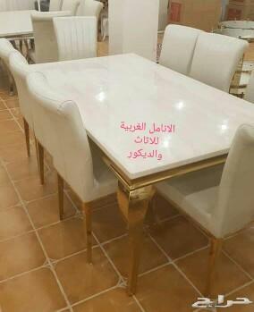 طاولات طعام رخام فخمة وكراسي ملكية جدة