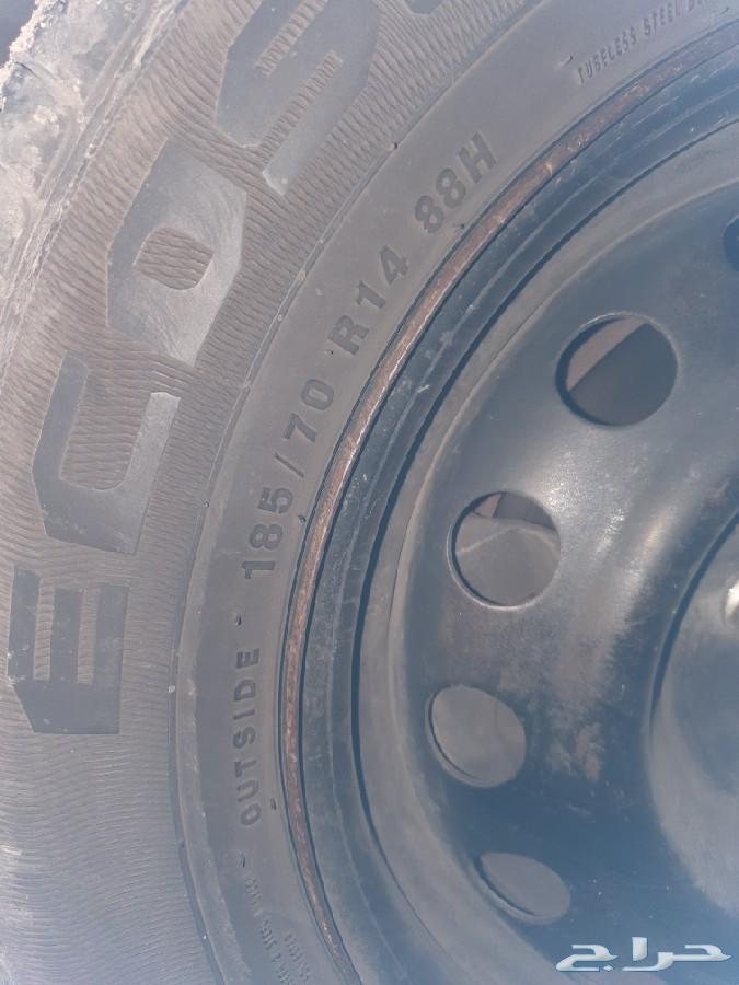 جنوط 14مع كفراتها 185 70) (ارخص تامين سيارات)