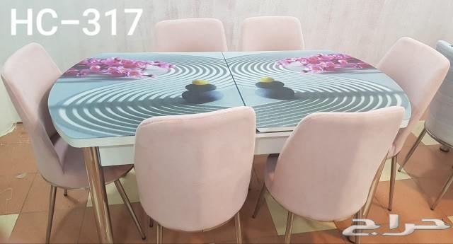 طاولة طعام زجاج 6  خامة ممتازة صناعة تركية