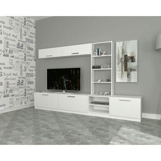 طاولة   تلفاز  للونين أبيض وخشبي \n