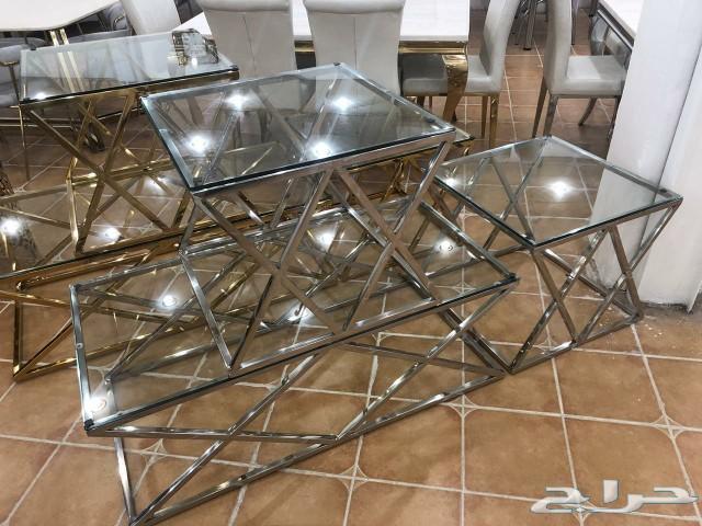 جدييد طقم طاولات نصف زجاج جديدة بالكرتون