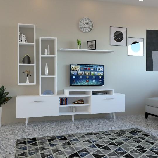 طاوله تلفاز أبيض وبني موديل  SHTV21