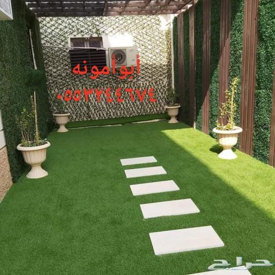 تنفيذ شلالات وتركيب العشب المتر32ريال
