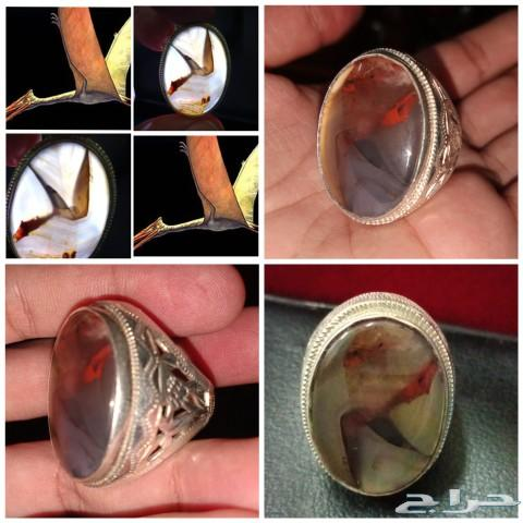 خاتم من العقيق اليماني المصور  الطبيعي المميز