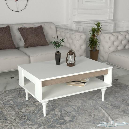 Lavita White طقم طاولة تلفزيون وطاولة قهوة ور